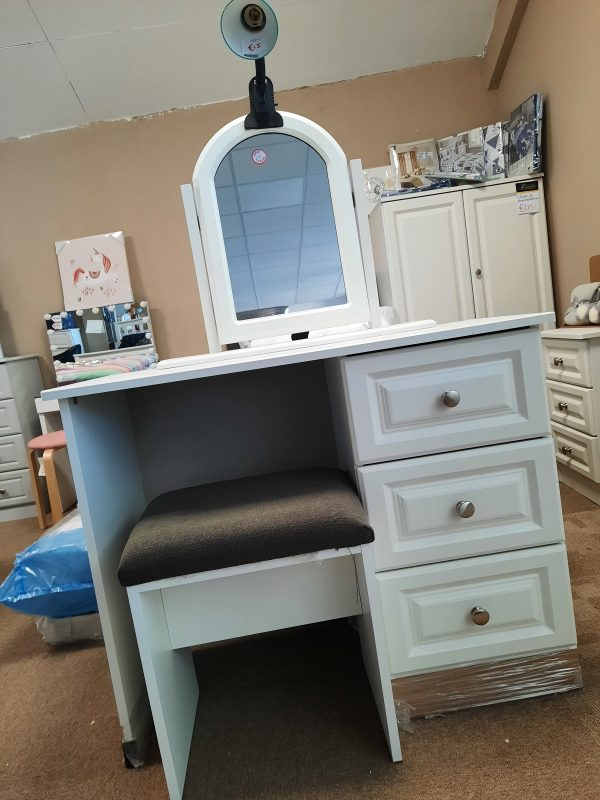 an image of a white ash single dressing table with 3 drawers by avoca with matching stool and mirror
