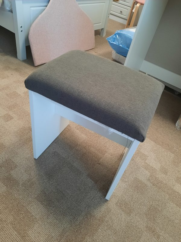 an image of a white ash dressing table stool with a grey cushioned seat by avoca