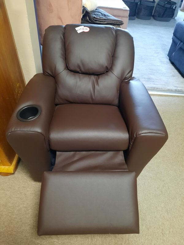 an image of a kids brown reclining armchair with a cup holder